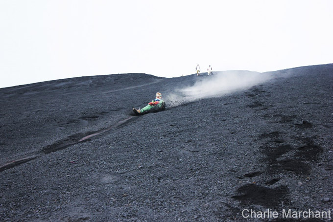 Volcano board down Cerro Negro.