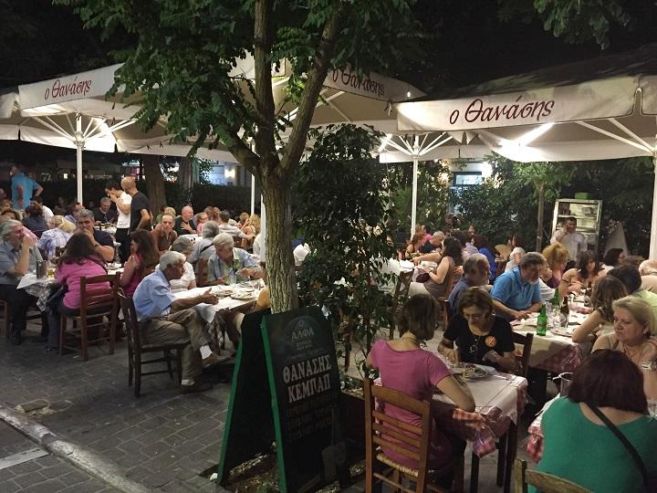 Restaurant outside in Greece ©Becki Enright