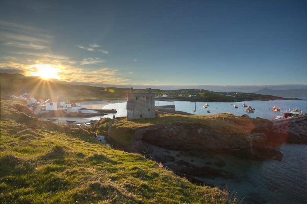 Harbour view, sunset, Clare Island, Ireland