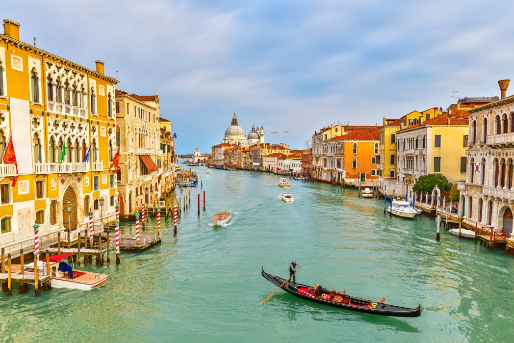 A gondola on a canal in Venice