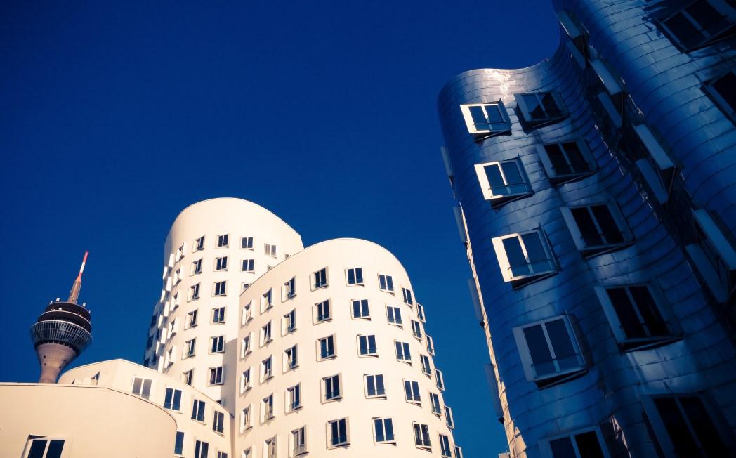 Modern buildings in Neue Zollhof, Düsseldorf