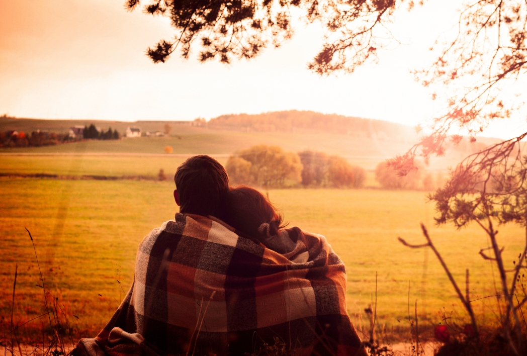 A couple looking at the British countryside