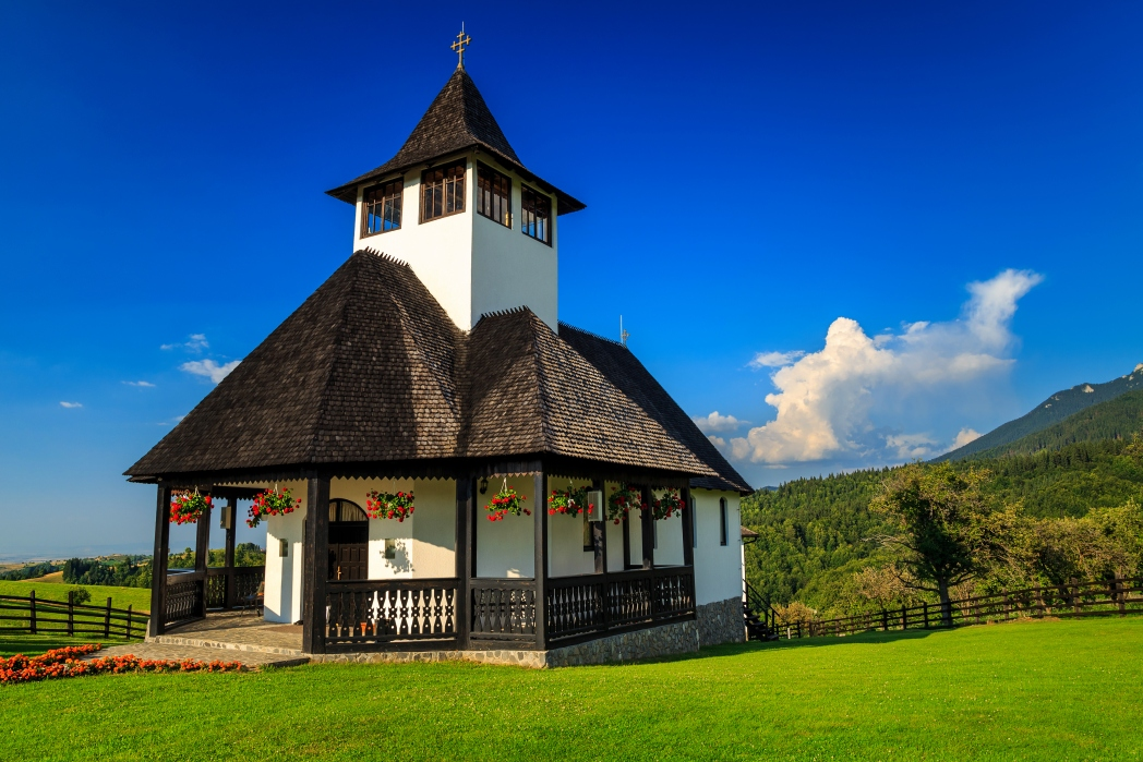 Romanian countryside with Medieval church