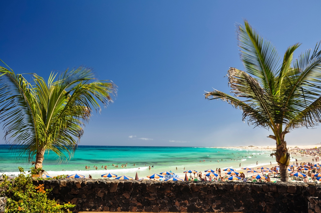 Beach with holidaymakers, Fuerteventura