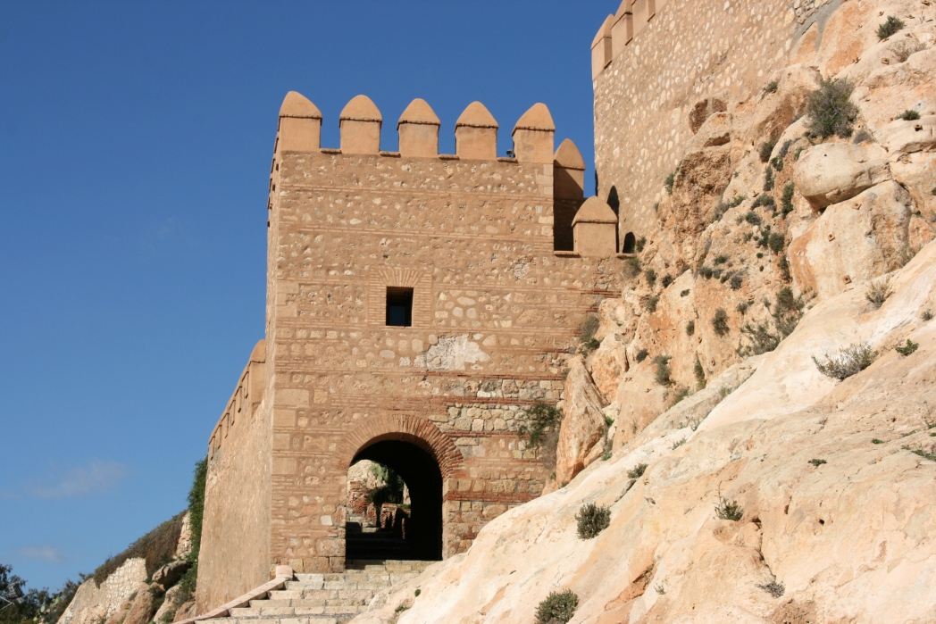 An entrance to a historic fort in Almeria