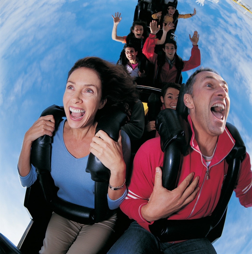 People on a roller-coaster
