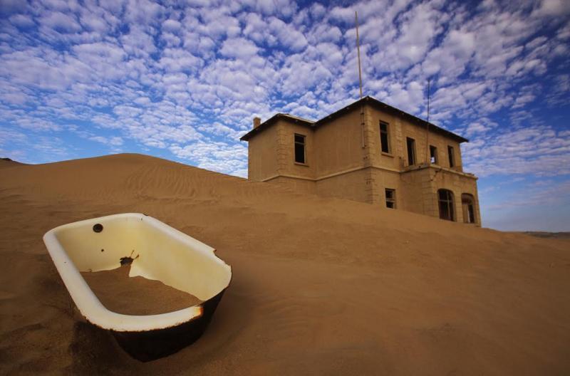 The remains of Kolmanskop in the heart of the desert