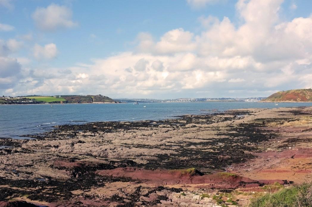 Rocky coastline on Spike Island, looking out to sea
