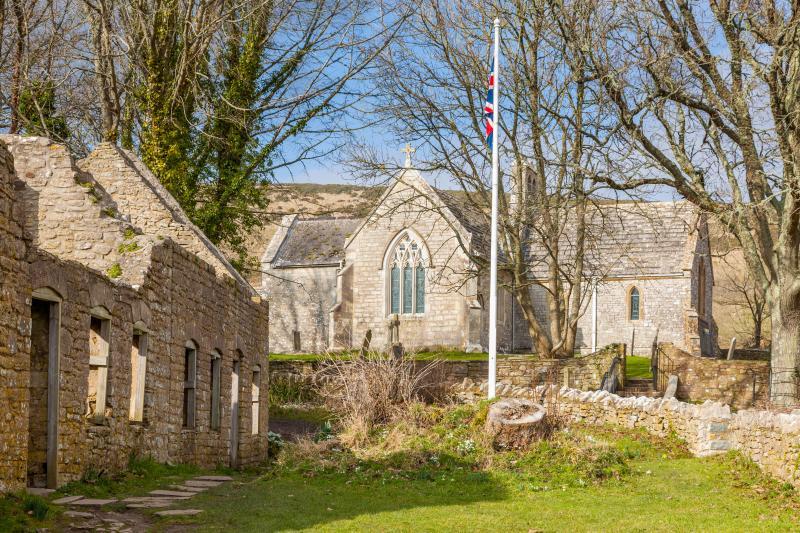 Tyneham abandoned village in Dorset