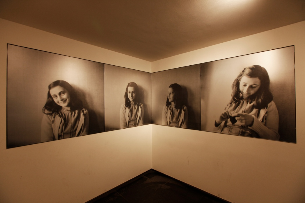 Photographs of Anne Frank at The Anne Frank House museum in Amsterdam