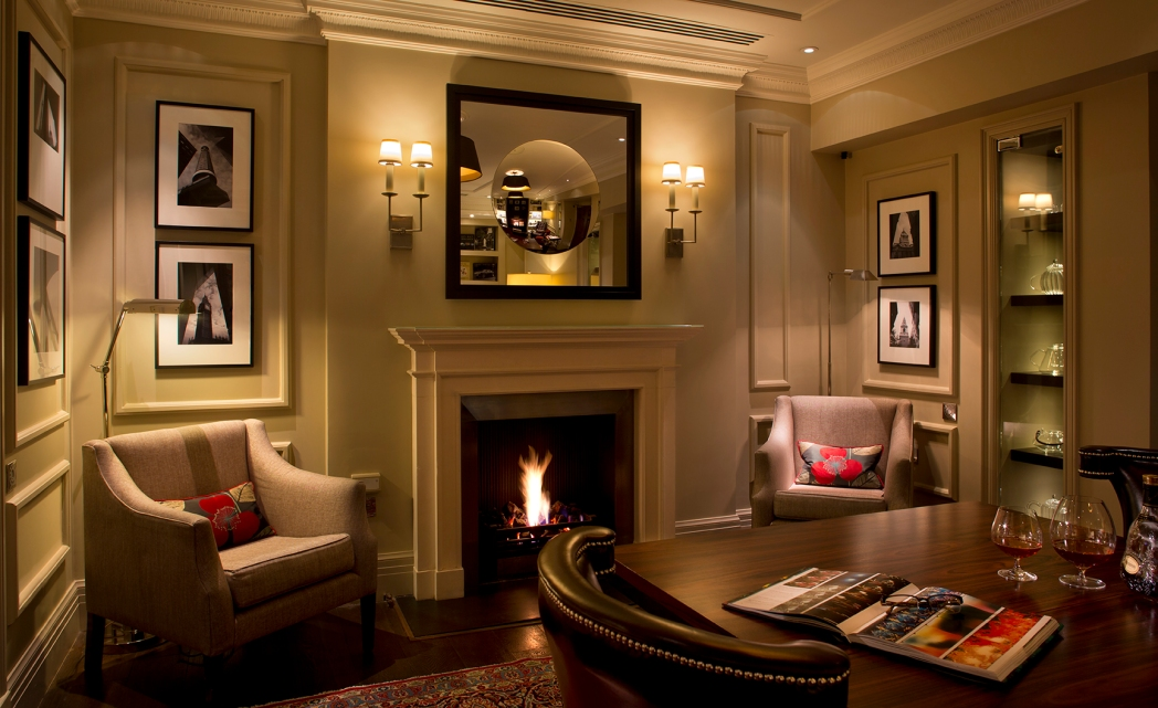 The roaring open fire in the reception at The Arch hotel, London