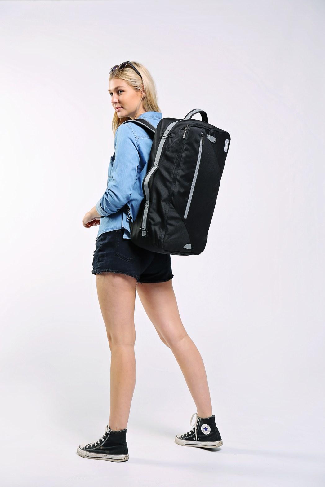 Woman modelling the Bergen backpack