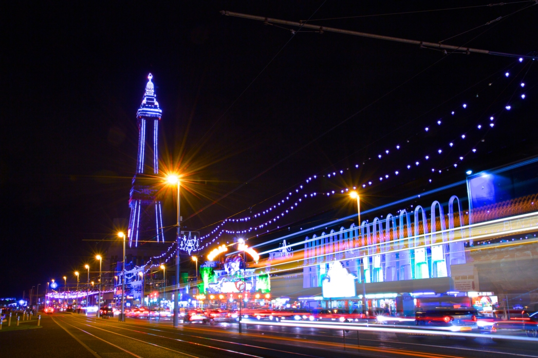 Blackpool Tower and The Golden Mile Illuminations at night