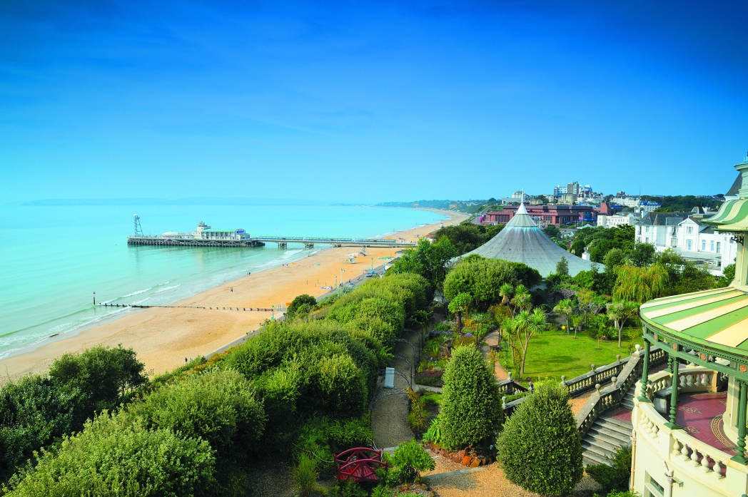 The golden sands and double piers of Bournemouth seafront