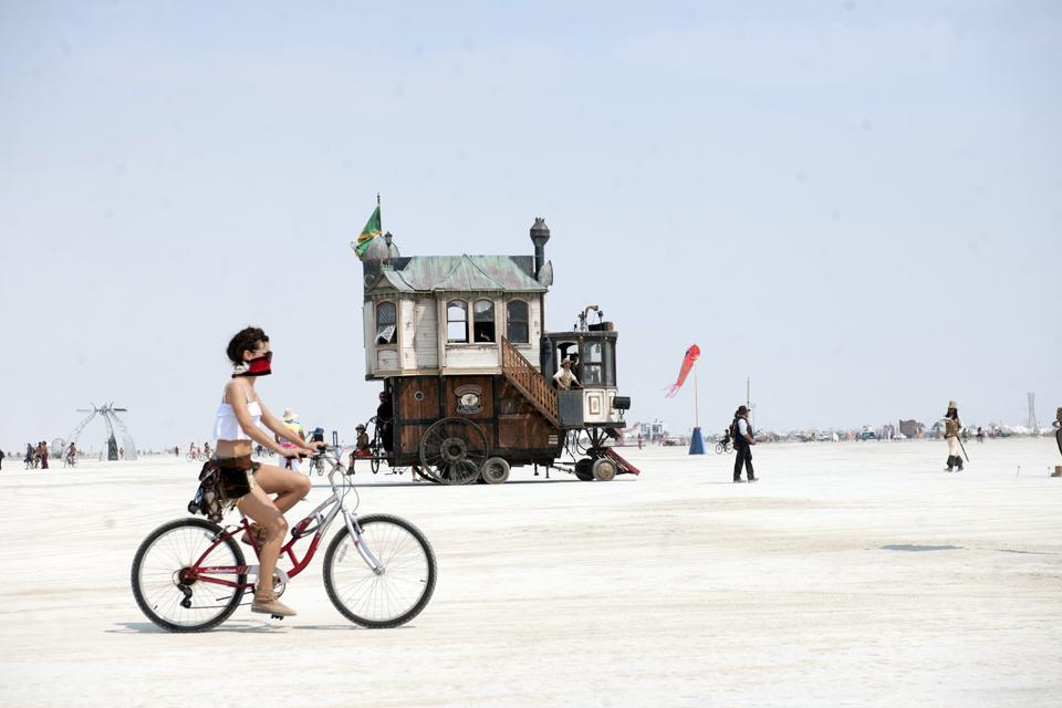 The Neverwas Hall art car at Burning Man 2013