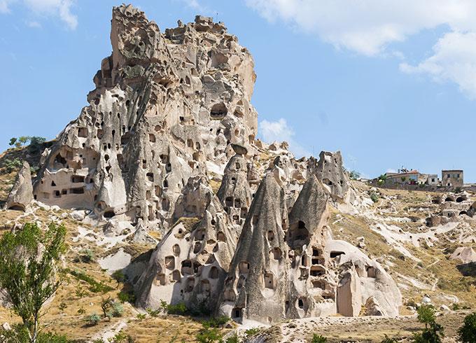 Mountain cave houses in Cappadocia, Turkey.