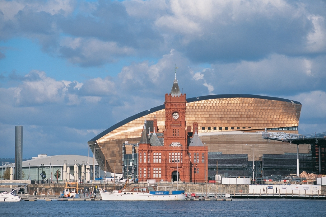 The red-brick Pierhead building and the Millennium Centre at Cardiff Bay