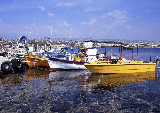 Boats in Paphos harbour