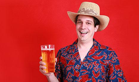 man drinking holiday