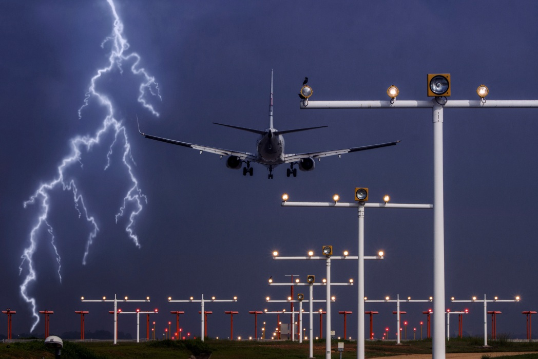 Flight grounded by storm