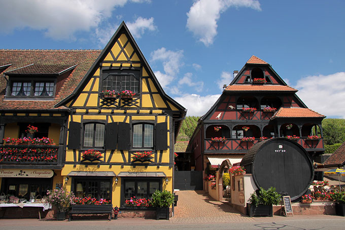 Houses with flower window boxes in Alsace, France.