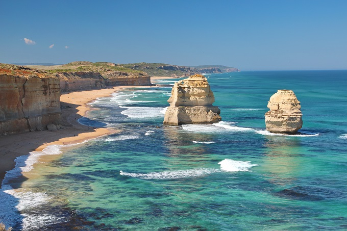 See the 12 Apostles, a dramatic limestone formation, along southern Australia's Great Ocean Road.