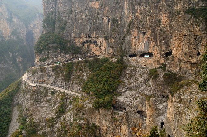 Going underground on the Guoliang Tunnel Road.