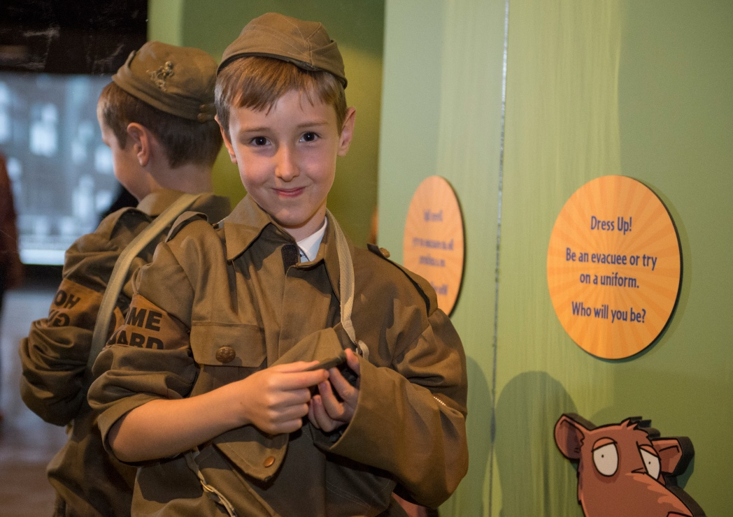 A child dresses the part at Imperial War Museum North