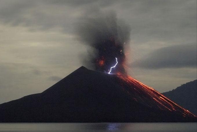 Night volcano eruption. Anak Krakatau, Indonesia