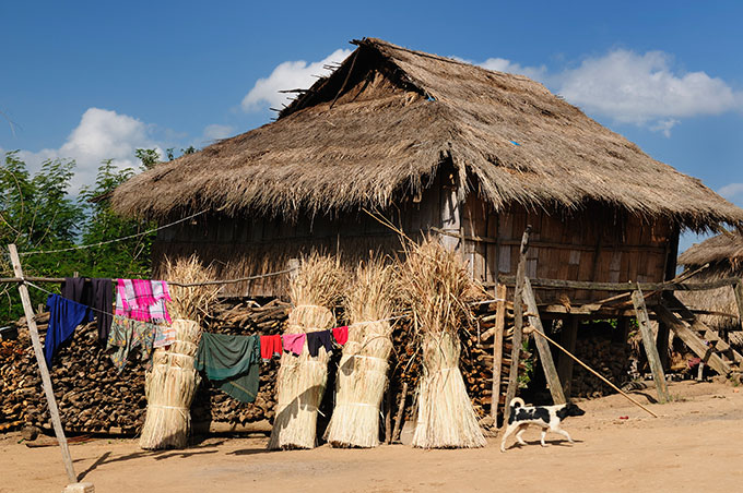 Straw house in Laos.