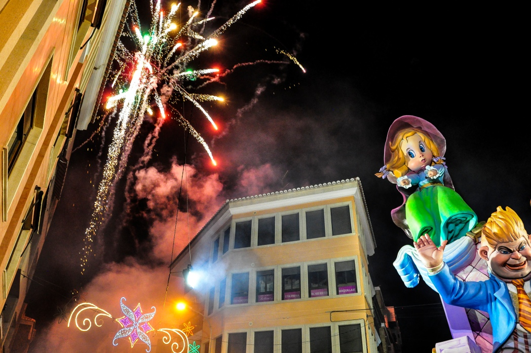 Fireworks and sculptures, Las Fallas festival in Valencia