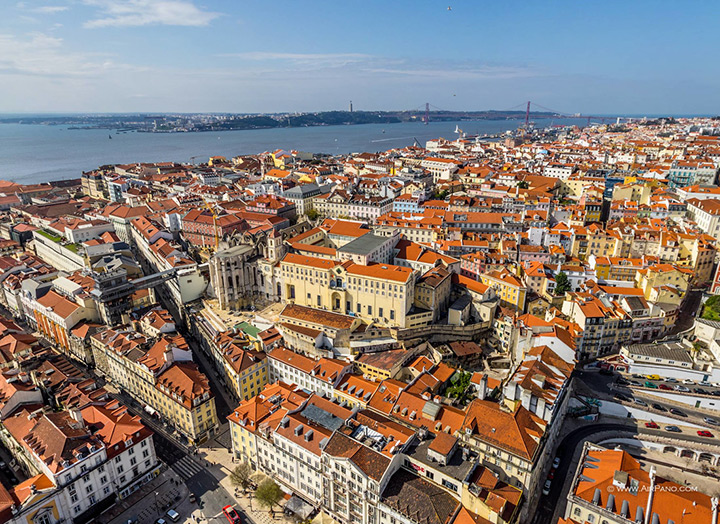 Lisbon, aerial view across the city