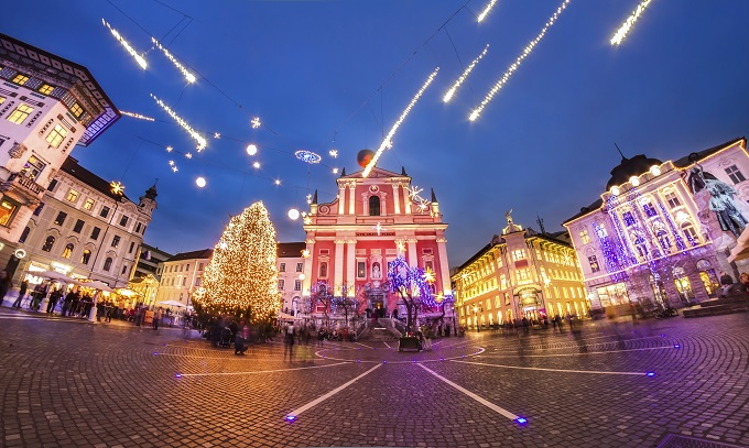 Look at those lovely lights in Ljubljana.
