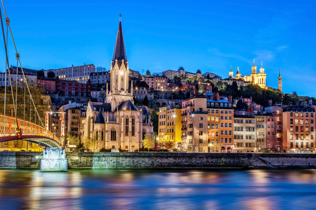 Lyon and the Saone River by night.
