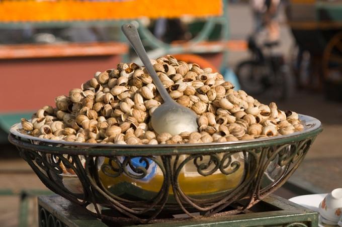 Snail soup in a big silver bowl, Morocco.