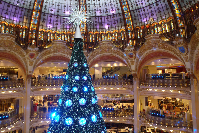 Christmas decorations in department store in Paris