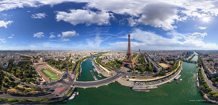 Eiffel Tower, Paris aerial view