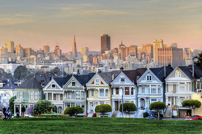 Houses sloping down a hill in San Francisco
