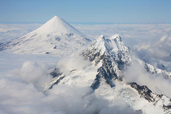 Shishaldin Volcano, with Isanotski in foreground, Unimak Island, Alaska, USA
