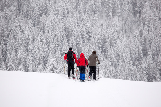 Get off piste and try some snow-shoeing.