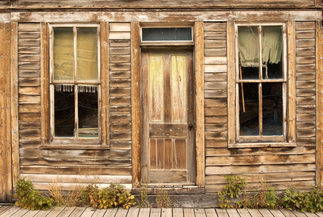 Weathered wooden house front