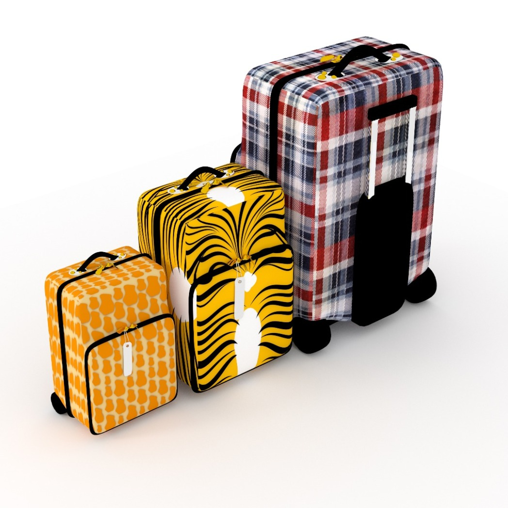 Three crazy patterned suitcases, multi-coloured