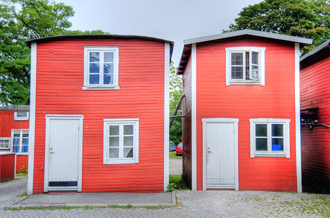 Red wooden houses in Sweden.