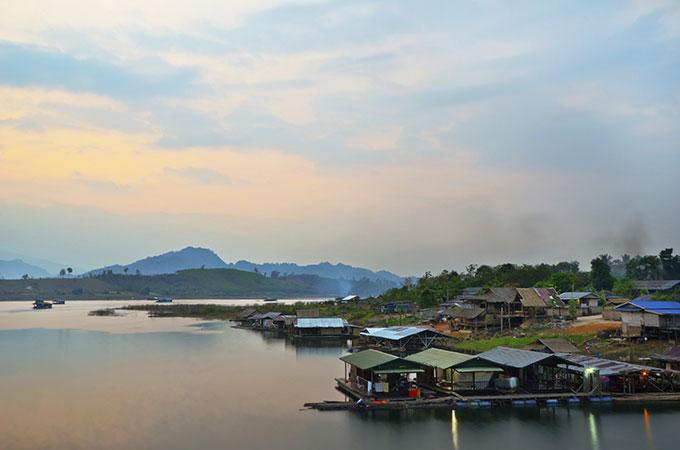 Floating village in Thailand.