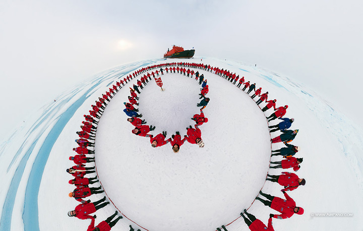 People in a circle in the North Pole