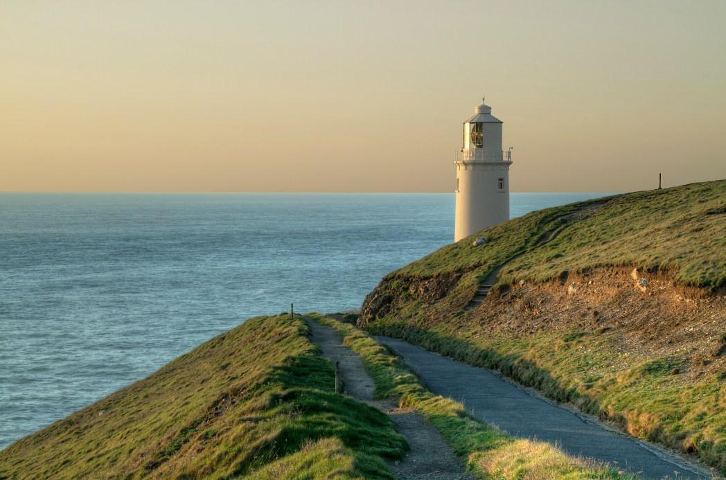 Trevose Lighthouse at sunset, Cornwall