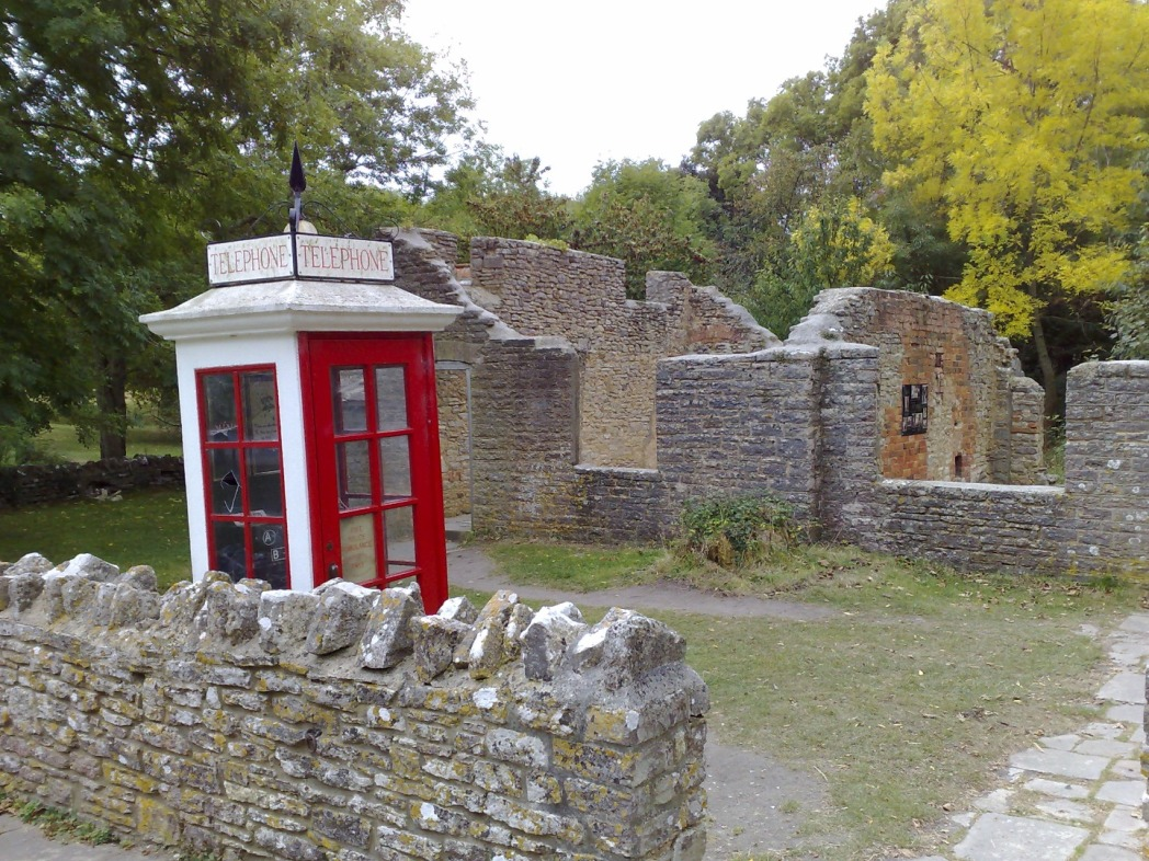 Tyneham, Dorset, England, old phone box in ruined village