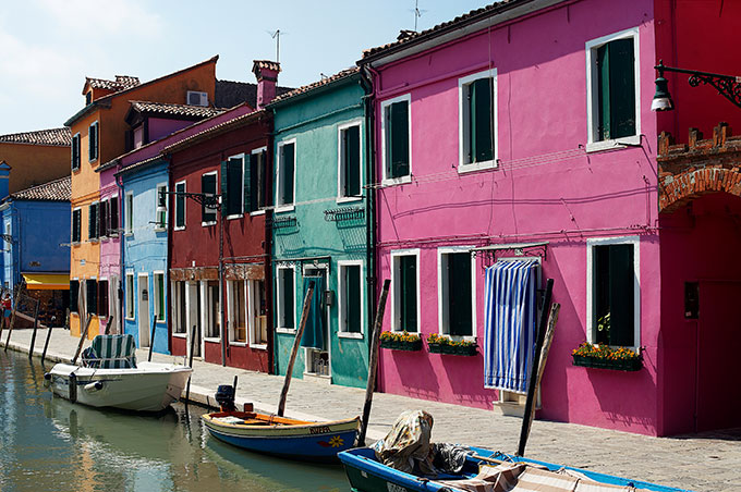 Colourful houses on the canal in Venice.