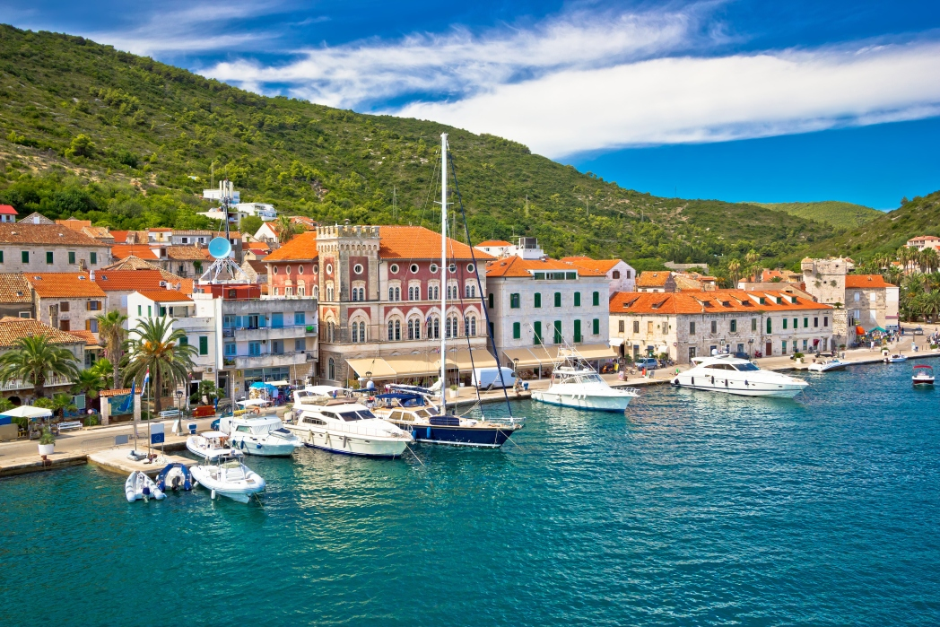 Yachts at Vis harbour, Croatia